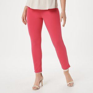 P L Joan Rivers Pull On Ankle Pants Capri Poppy